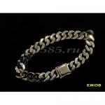 Серебряный панцирный браслет  22 см 45 грамма