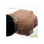 Золотой мужской браслет ДВОЙНОЙ БИСМАРК 22 см ширина 17 мм