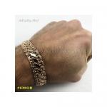 Золотой мужской браслет ДВОЙНОЙ БИСМАРК 21 см ширина 14 мм