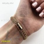 Золотой женский браслет ЦЕЗАРЬ 18 см ширина 7 мм